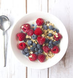 Muesli with milk and fresh berries Stock Photography