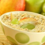 Muesli with milk and fruit. Royalty Free Stock Photography