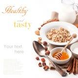 Muesli with milk and honey stock images