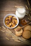 Muesli with milk and rusk. Muesli with low-fat milk and rusk Royalty Free Stock Image