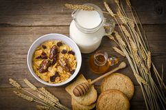 Muesli with milk and rusk Royalty Free Stock Photography