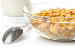 Muesli with milk and spoon Stock Photography