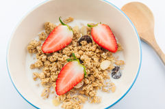 Muesli with milk Royalty Free Stock Image