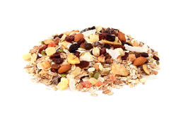 Muesli - mixed fruit and nuts with cereal flakes royalty free stock image