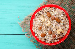 Muesli with nuts. muesli top view. healthy food . Royalty Free Stock Images
