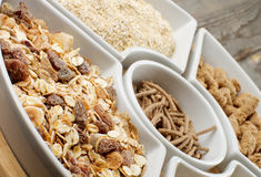 Muesli, Oat Flakes and Bran Royalty Free Stock Photography