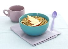 Muesli of oats and apple in bowl Stock Image
