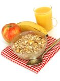 Muesli of oats, juice and fresh fruits isolated on Royalty Free Stock Photography