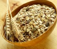 Muesli of oats with raisin in bowl Stock Photo