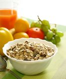 Muesli of oats with raisin and fresh fruit Stock Photos