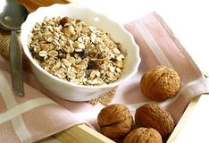 Muesli of oats with raisin and walnuts Stock Photography