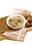 Muesli of oats with raisin and walnuts Royalty Free Stock Photography