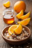 Muesli with oranges and honey Stock Photos