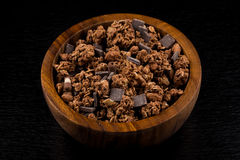 Muesli with pieces of chocolate royalty free stock image