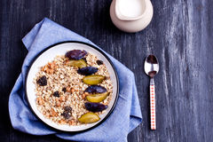 Muesli with plum Royalty Free Stock Photography