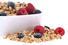 Muesli with raspberries und blueberries Stock Photo