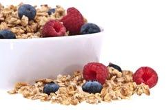 Muesli with raspberries und blueberries Stock Photo