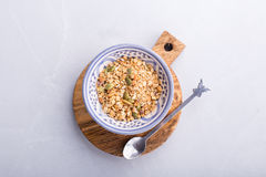Muesli shot from above. Some oats and seeds granola top view royalty free stock photography