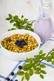 Muesli and smoothies with blueberries Stock Image