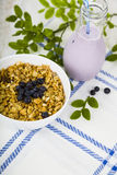 Muesli and smoothies with blueberries Royalty Free Stock Photography