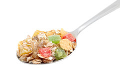 Muesli in spoon Stock Photos