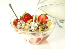 Muesli with strawberries,  Royalty Free Stock Photos