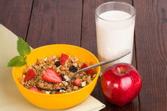Muesli with strawberries, apple Royalty Free Stock Photos