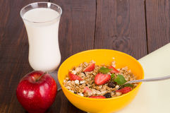 Muesli with strawberries, apple Stock Images
