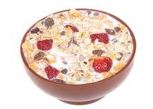 Muesli with strawberries in bowl Stock Photo