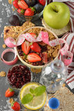 Muesli with strawberries and figs Royalty Free Stock Image