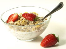 Muesli with strawberries, isolated Stock Photo