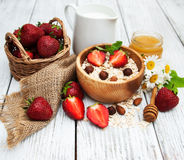 Muesli with strawberries Stock Photo