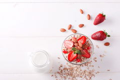 Muesli with strawberries and nuts Royalty Free Stock Photo