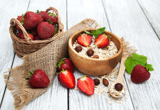 Muesli with strawberries Stock Photography