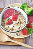 Muesli with Strawberries Stock Photography