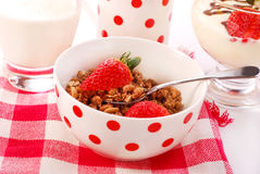 Muesli with strawberry Stock Photos