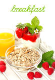 Muesli, strawberry yogurt, orange juice Stock Photos