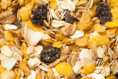 Muesli texture. Background. Granola and fruit for breakfast texture stock image