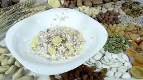 Muesli and their Composition stock video footage