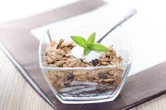 Muesli in una ciotola con yogurt, la menta e la frutta fresca Immagine Stock Libera da Diritti