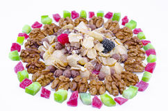 Muesli, walnuts and dried fruit isolated Royalty Free Stock Photo
