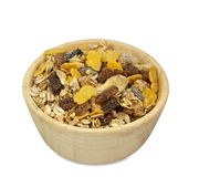 Muesli in wooden bowl Royalty Free Stock Images