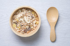 Muesli in wooden bowl Royalty Free Stock Photo