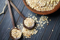 Muesli in a wooden bowl Royalty Free Stock Images