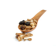 Muesli on wooden spoon Royalty Free Stock Photo
