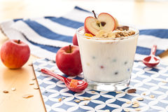 Muesli with yoghurt and apples Royalty Free Stock Photos
