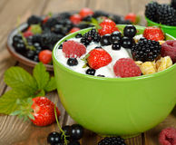Muesli with yoghurt and berries Royalty Free Stock Image