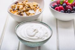 Muesli yoghurt and berries. Healthy breakfast with yogurt granola and fresh fruit.  royalty free stock photo