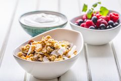 Muesli yoghurt and berries. Healthy breakfast with yogurt granola and fresh fruit.  stock images