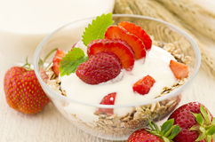 Muesli with Yoghurt and Strawberries Royalty Free Stock Images